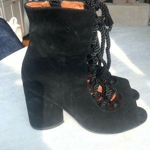 Jeffrey Campbell Lace Up Corset Suede Peep-Toe